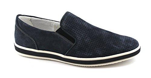 Igi & Co 1108833 Blue Jeans Chaussures Homme Baskets Slip-on En Cuir Perforé Bleu Daim