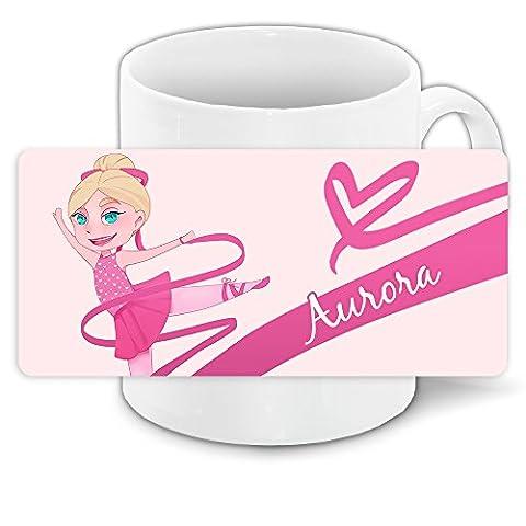Tasse mit Namen Aurora und Motiv mit Tänzerin für Mädchen | Namenstasse | Keramik-Tasse | (Kind Aurora Ballerina)