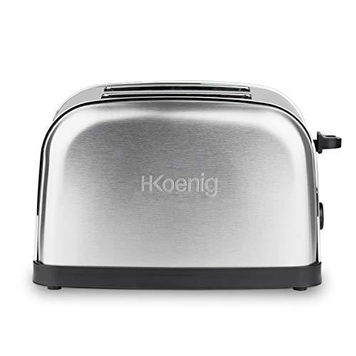 H.Koenig Grille Pain Toaster 2 Tranches TOS7 Fentes larges Inox vintage, 6 Niveaux de brunissage, Décongélation, Rapide et uniforme, Pain et Viennoiserie, Nattoyage facile, 850 W