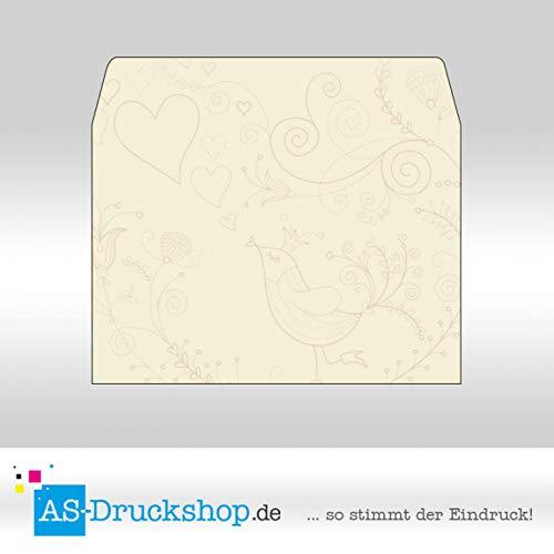 Briefumschlag Liebe - Cremefarben mit Muster/DIN C6 / 50 Stück
