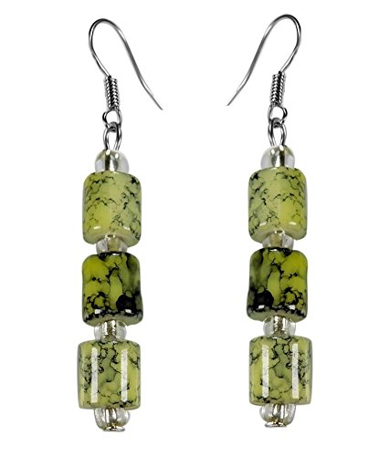 CRYSTAL & BEADS Peridot Green Colour Drum Bead & White Colour Crystal Earring