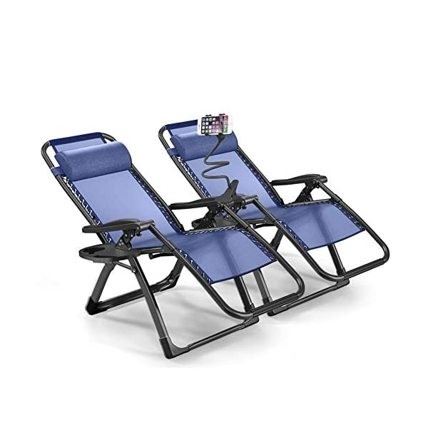 1INCHHOME Extra Large Zero Gravity Chair Set of 2 (blue, black or grey)