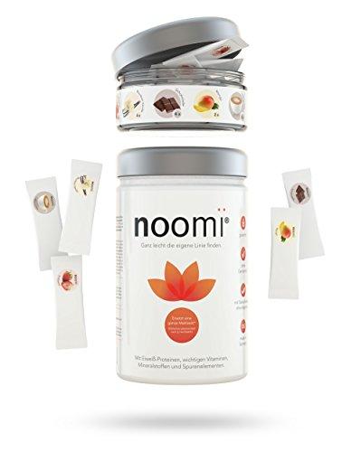 noomi Abnehm-Shake PREMIUM | Inkl. Geschmacksvielfalt (Erdbeere, Vanille, Schokolade, Mango, Cappuccino) | 1x 500g Pulver zzgl. 15 Portionen Flavour Sticks+ (90g) | Gesunder Mahlzeitenersatz
