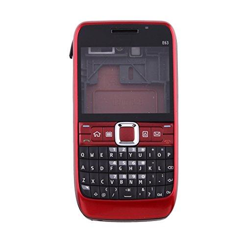 XINGRUI Vollständige Gehäuseabdeckung (vordere Abdeckung + mittlere Rahmenblende + Rückseite der Batterie + Tastatur) for Nokia E63 (schwarz), Nokia Mobiltelefon Rahmenblende (Farbe : Red) E63 Lcd