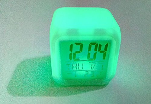Art box Latest Mini 6 Colors Change Digital alarm clock snooze led light clock Electronic Table Cube style Watch for all age.  available at amazon for Rs.495
