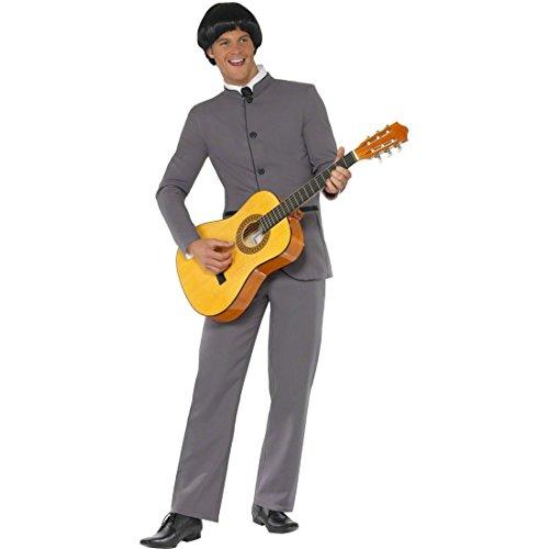 tüm Pilzkopf Rockstar Bekleidung Grau L 52/54 Boyband Outfit 60er 70er Jahre Kostüm Starkostüm Musiker Sänger Bekleidung ()