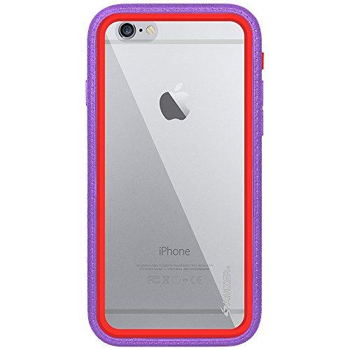 Amzer Crusta edge2edge Rugged Shell Case Cover mit Tempered Glas und Holster für iPhone 6schwarz/Space Grey _ P Violett / Rot