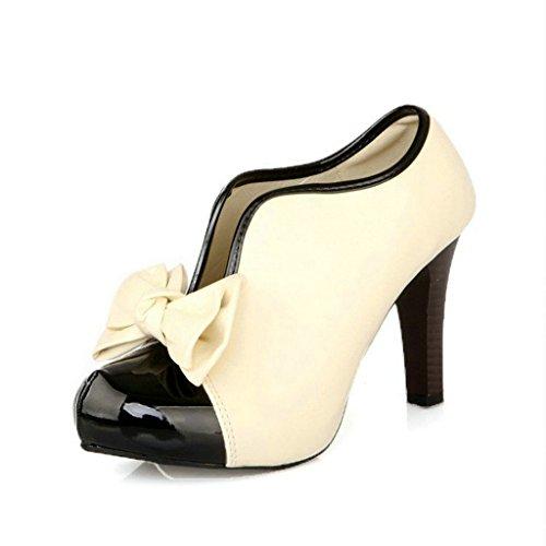 Pumps High Heels Boots mit Schleife Klassisch Vintage Schuhe