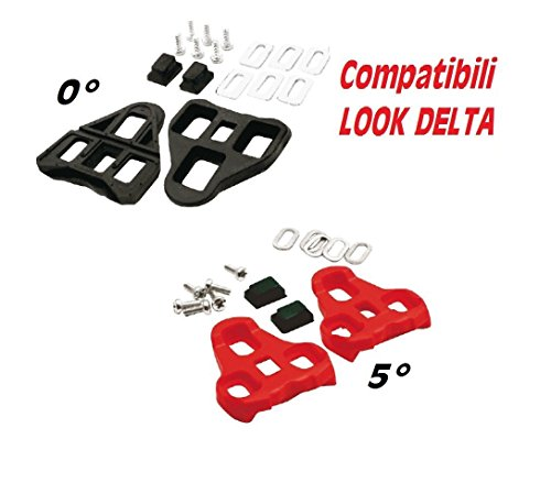 Tacchette - Placchette compatibili pedali LOOK DELTA con angolatura VARIABILE (Rosso - Angolo 5°) Nero - Angolo FISSO