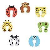 DoGeek 7 Piezas Bebé Puerta de Seguridad Espuma Tapones Diseños de Animales Tope Clip Protector Puerta Dedos Seguridad para Bebé