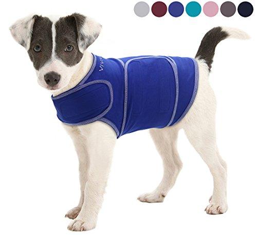 Vivaglory Angst T-Shirt mit Stressabbau und Anti-Angst-Effekt für Hunde, verstellbar, Größe M, Blau