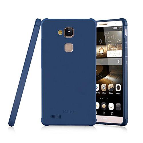 Schutzhülle Huawei Ascend Mate 7 Hülle, Business Serie Stoßfest Ultra Dünn Weich Silikon Rückseite Fall für Huawei Ascend Mate 7 (Blau)