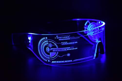ASVP Shop Cyberpunk Sonnenbrille mit LED-Beleuchtung, perfekt für Cosplay und Festivals, Cybergoth (Blau)