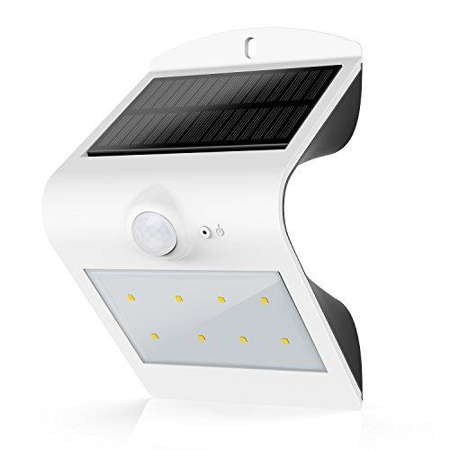 HonestEast LED Solarleuchten, Solarlicht mit Bewegungssensor Außenleuchten für den Garten Hof Balkon Zaun Terrasse Deck Fahrweg Treppen Nachtlicht im Freien (Weiß)