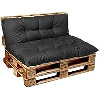 Garden Factory Palettenkissen Palettenauflagen Sitzkissen, Rückenlehne, Set, Gesteppt (Set (Sitzkissen 120x60 + Rückenlehne 120x50), Anthrazit)