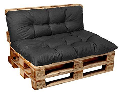 Garden factory Coussins pour Canape Euro Palette, Assise, Dossier, Set, extérieur intérieur Assise Cushion 120x80