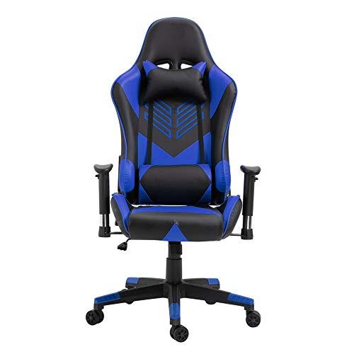 JICHUI Modernes Design Racing Gaming Bürostuhl Computer-Schreibtisch 360 Grad Stuhl Verstellbarer Sitz Büro-Schreibtisch-PC Leder-Stuhl(Blau)