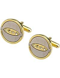 Shining Jewel Two Tone Plated Gold & Silver Designer Cufflinks For Men (SJ_7059)