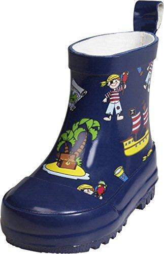 Playshoes Kinder Halbschaft-Gummistiefel aus Naturkautschuk, Trendige Unisex Regenstiefel mit Reflektoren, mit Piraten-Muster, Blau (Marine), 26 EU