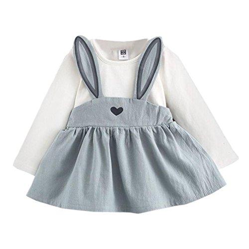Mädchenkleider kinderkleidung Hirolan Babyoverall 0-3 Jahre Alt Herbst Baby Mädchen Niedlich Hase Bandage Anzug Kinder Kleinkind Mini Kleid (70, (Alt 1 Jahr Badeanzug)
