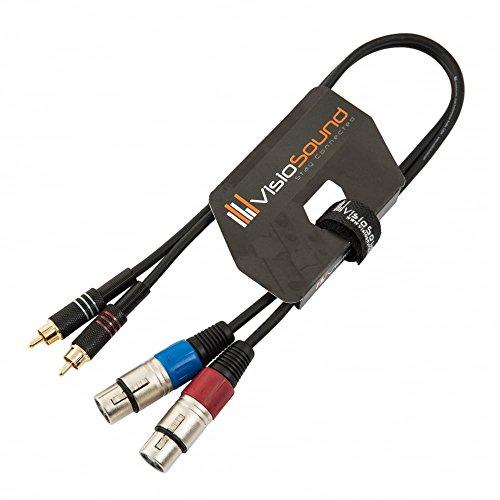 Twin Instrumentenkabel 2 x XLR 3-Polig Weiblich auf 2 x Cinch Stecker (RCA) / Audio Signalkabel 0.5m