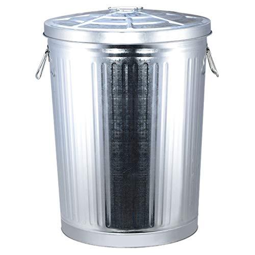 J+N NJ Mülleimer- Schmiedeeisen Mülleimer, Haushalt Badezimmer Küche Wohnzimmer Schlafzimmer mit Abdeckung, Silber (7L, 17L, 25L, 35L, 55L, 75L) (größe : 35L)