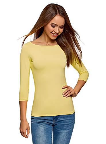 oodji Collection Damen T-Shirt Basic mit 3/4-Ärmeln, Gelb, DE 38 / EU 40 / M