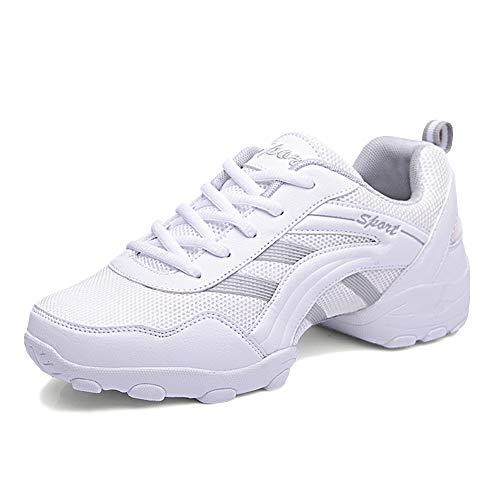 YFCH Herren Leder Sportschuhe Jazz Sneaker Tanzschuhe Tanzsneaker Turnschuhe Outdoorschuhe Training Schuhe, Weiß, Gr. 40.5/41(Herstellergröße: 43)
