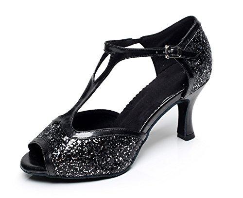 Minitoo da donna stile qj6205Flare Glitter tacco alto Salsa Latin Dance scarpe Black