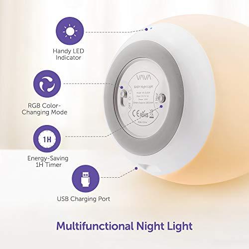 Nachtlicht für Kinder, LED Wiederaufladbare USB Silikon Kinder Lampe, Touch Control, dimmbar mit Warm-Licht und Farbwechsel Modi für Kleinkinder und Kinder, 1H Timer, Speicherfunktion - Wiederaufladbare, WarmLicht, VAVA, USB, und, Touch, Timer, Speicherfunktion, Silikon, nachtlicht kinder, Nachtlicht, Modi, mit, LED, Lampe, Kleinkinder, Kinder, für, Farbwechsel, dimmbar, Control
