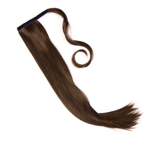 Haarteil Zopf Pferdeschwanz zum anklipsen Haarverlängerung Pony in der Farbe schwarz-braun NEU