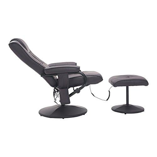 Homcom Fauteuil de Massage et Relaxation électrique Chauffant pivotant inclinable avec Repose-Pied Chocolat 37
