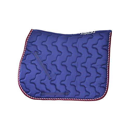 SOTTOSELLA INGLESE TRAPUNTATO SPIRALE + CORDONE, cotone sagomato con passamaneria Derby by Pro-Tech. UMBRIA EQUITAZIONE cavallo, cavalli, sella (blu)