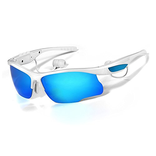 WoSports S6 Bluetooth Sunglasses Smart Sunglasses Wireless Bluetooth 4.0 Stereo Headset Headphone Polarized Glasses, Hand-free Phone Answer/Call Music Function with Smarthpone Iphone5s, 6 plus for Riding Driving Fishing Running Golf and All Outdoor Activities(White)