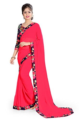 OOMPH! Chiffon Saree With Blouse Piece (rbaf_1385_Strawberry Pink_Free Size)