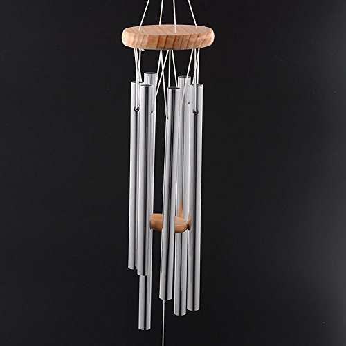 Vi.yo Windspiel 6 hohlen Aluminium Metallrohre Windchime knackige klare Kapelle Melodie Bells Yard Home Decor, 1 Stück