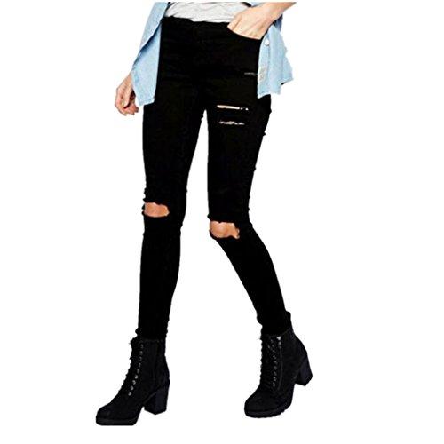 Hffan Frau Cool Zerrissen Knie Schneiden Dünn Lange Jeans Hose Slim Fit Bleistifthose Damen Cropped Jeans High-Waist Stretch Ripped Loch Bleistift Modern Lässige Hosen (XL, A) (Bleistift-bein-hose)