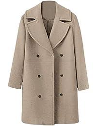 FELZ Abrigos Mujer Invierno Abrigo,Abrigo de Lana de Gran tamaño Abrigo Largo de Lana