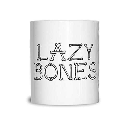 Neuheit Halloween Keramikbecher Lazy Bones Joke Slogan White 11OZ