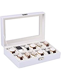 Amzdeal Watch Storage Display Box Leather Case Faux Storage Case White