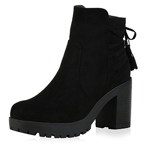 Damen Plateau-Boots Quasten Schleifen Stiefeletten Schwarz