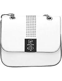 Bolsa mujer de hombro con cadena PIERRE CARDIN blanco cuero Made in Italy N983