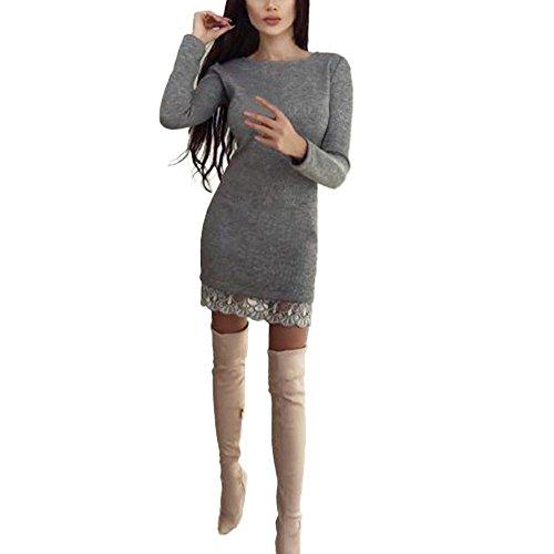 amen Pullover Kleider Winterkleider Kleid Strickkleider Langarm Mode Stricksweat Strickpullover Lose Sweatkleid Minikleid Kleid mit Spitzennähten (S, Grau) (Halloween Silhouetten Geist)