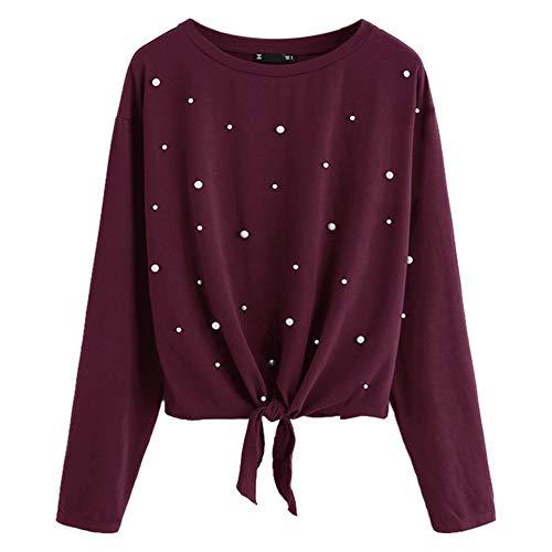 Toasye Frauen-beiläufige Feste bördelnde Knoten-vordere Oberseiten-Lange Hülsen-Sweatshirt O-Ansatz Pullover