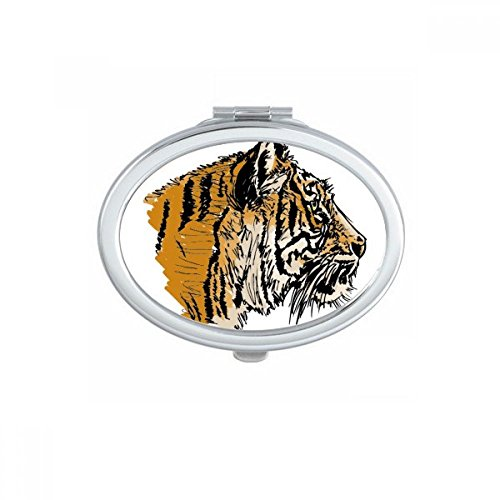 DIYthinker Tiger Head-Up Close Roi Animal Ovale Maquillage Compact Miroir de Poche Portable Mignon Petit Miroirs Main Cadeau Multicolor