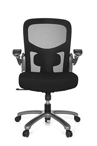 hjh OFFICE 736120 Büro-Schreibtisch-Stuhl bis 200kg Instructor T XXL Netz-Stoff, Titan Schwarz, klappbare Armlehnen