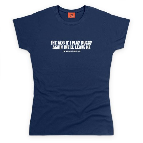 Girlfriend vs Rugby T-Shirt, Damen Dunkelblau