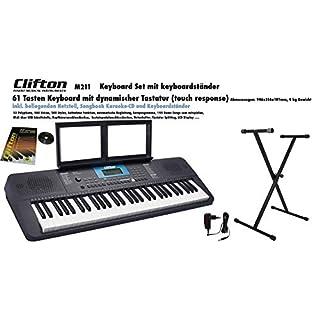 Clifton Keyboard M211, USB, MIDI, 61 anschlagdyn. Tasten, Netzteil, Komplettset mit Ständer Buch und Karoke CD