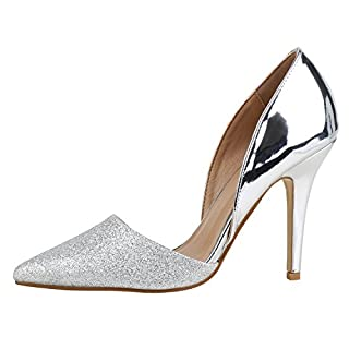 Damen Pumps High Heels Lack Glitzer Party Schuhe Silber Silver 37