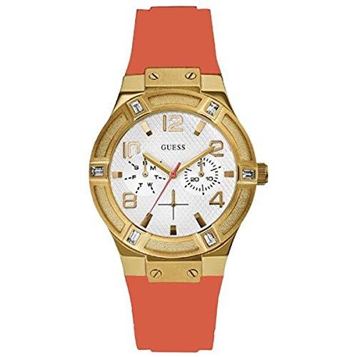 Guess Damen Analog Quarz Uhr mit Kautschuk Armband W0564L2